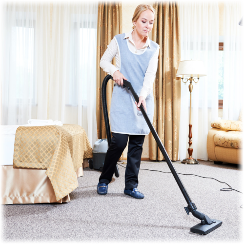 caregiver cleaning living room